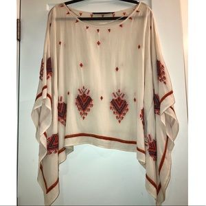 Tops - Embroidered cream chiffon sheer coverup poncho
